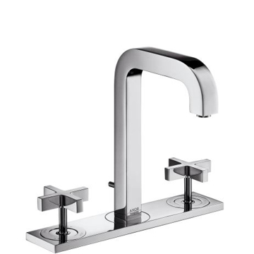 Picture of Axor Citterio 3-hole basin mixer 170 with pop-up waste set and spout 140 mm, cross handles and plate