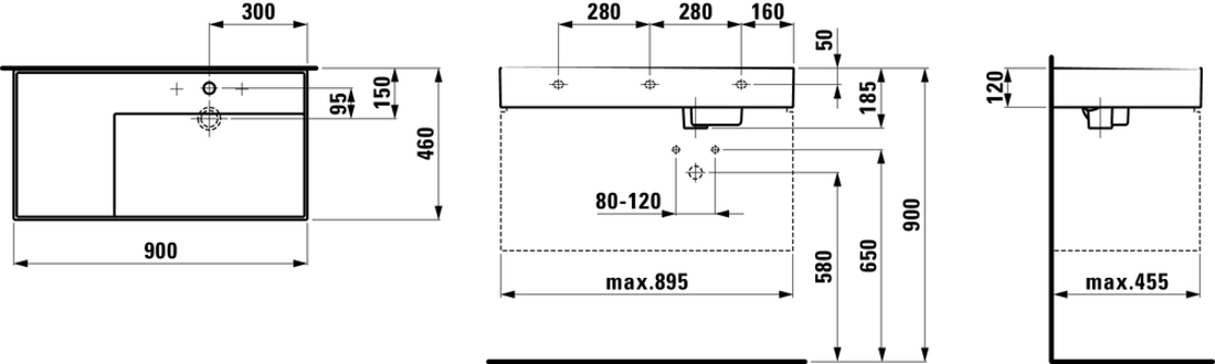 Slika od KARTELL 90 nadgradni umivaonik LCC w o/tap hole