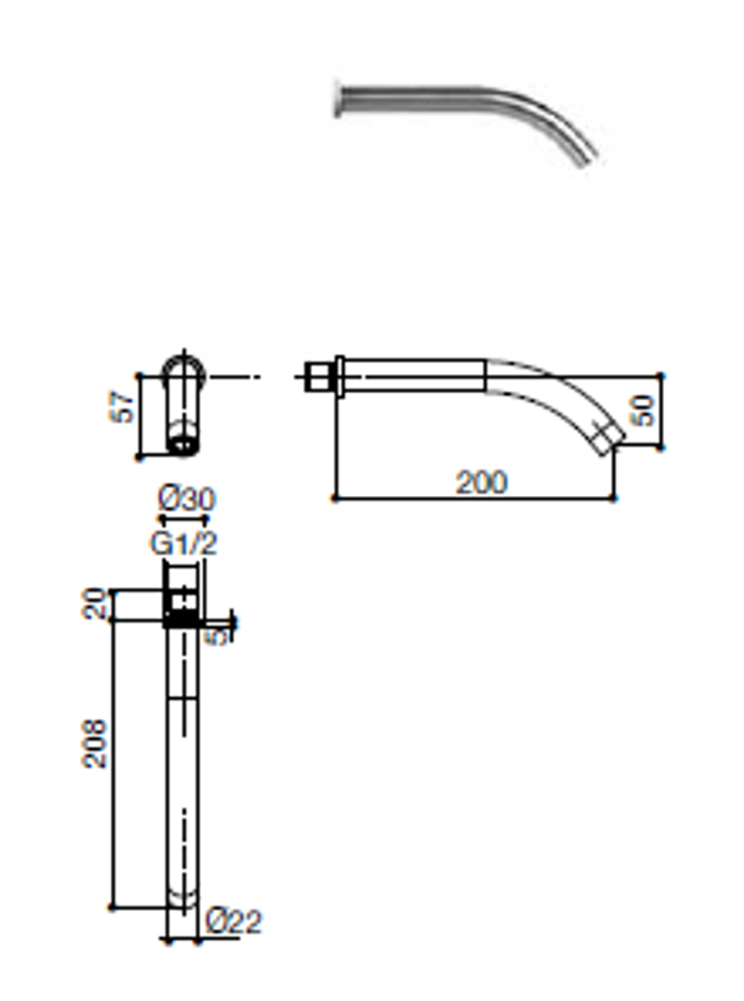 Picture of ARCO WALL MOUNTED SPOUT 20 cm with DECK MOUNTED HYDROPROGRESSIVE FLOW CONTROL