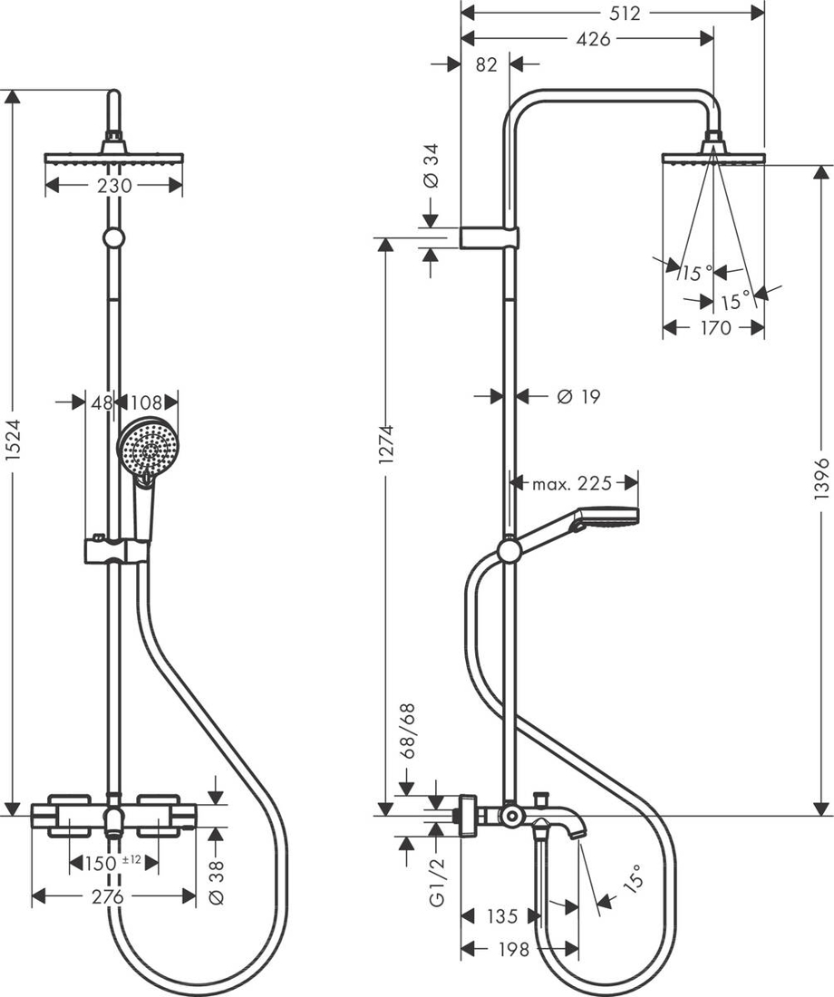 Picture of Vernis Shape  230 1jet tuš set sa termostatom za kadu