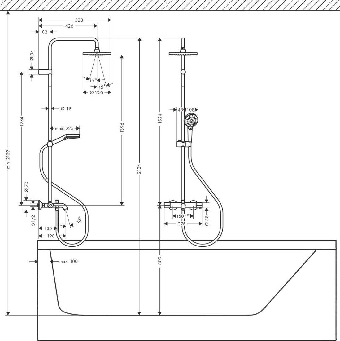 Picture of Vernis Blend 200 1jet tuš set sa termostatom za kadu