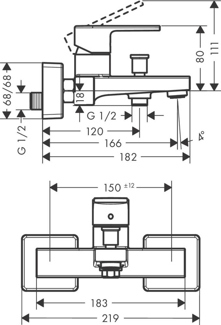 Picture of Vivenis Shape jednoručna baterija za kadu sa priključkom za ručni tuš