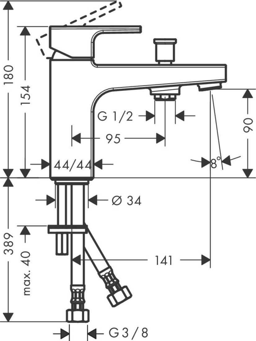 Picture of Vivenis Shape Monotrou jednoručna baterija za kadu sa priključkom za ručni tuš
