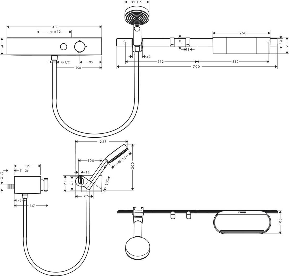 Picture of WallStories komplet sa termostatskim mešačem za tuširanje