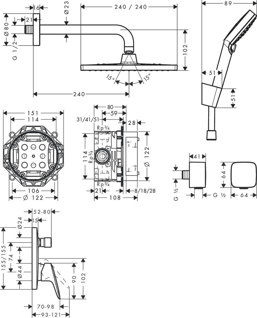 Picture of Crometta E Shower system 240 1jet with single lever mixer